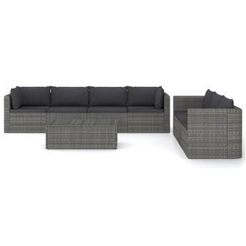 vidaXL 8-cz. zestaw wypoczynkowy do ogrodu, poduszki, szary rattan PE