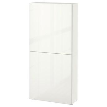 IKEA BESTÅ Szafka śc/2 drzwi, Biały/Selsviken połysk/biel, 60x22x128 cm