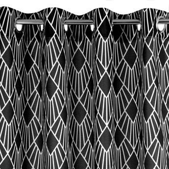Zasłona Kerry 140x250cm - Biały/Czarny - Przelotki