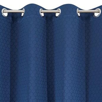 Zasłona Monochromatyczna Matowa Rivet 135x250cm - Granatowy - Przelotki