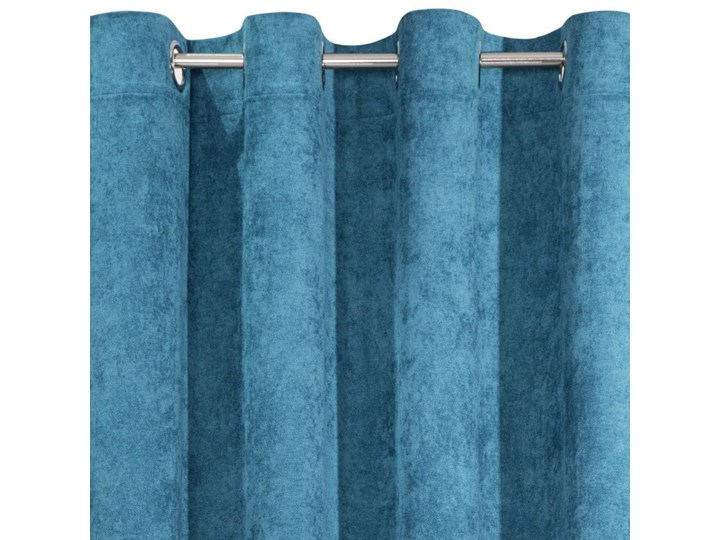 Jednokolorowa Zasłona Anisa 140x250cm - Ciemny Niebieski - Przelotki Poliester Bawełna 140x250 cm Wzór Nadruk