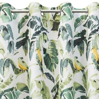 Zasłona Zaciemniająca Flore 140x250cm - Biały/Zielony - Przelotki