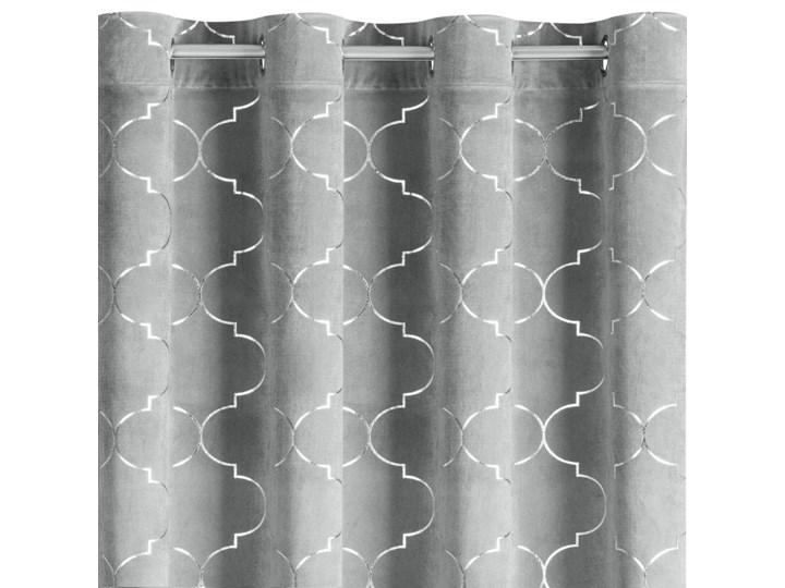 Nowoczesna Zasłona z Marokańskim Wzorem 140x250cm - Srebrny - Przelotki Mocowanie Kółka Poliester 140x250 cm Mocowanie Szelki