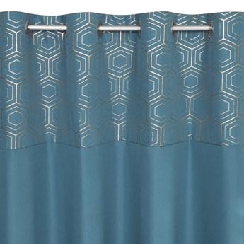 Zasłona Gotowa Dafne 140x250cm - Złoty/Niebieski - Przelotki