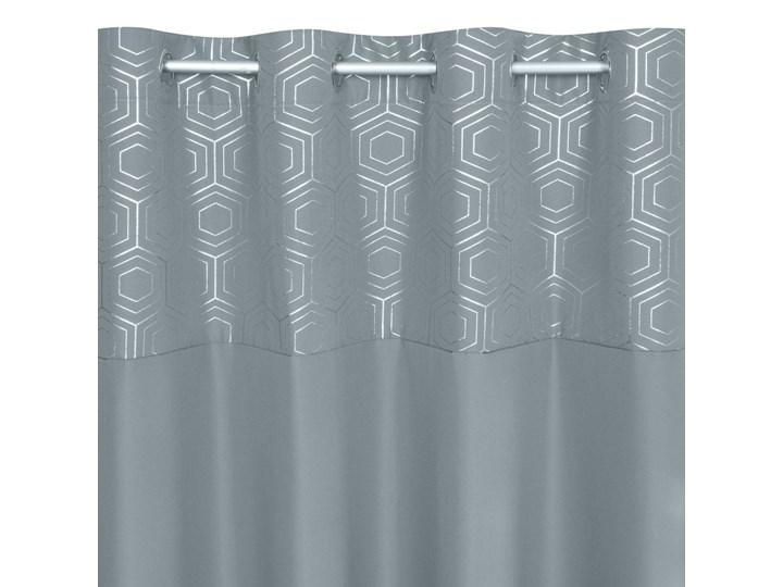 Zasłona Gotowa Dafne 140x250cm - Srebrny - Przelotki Poliester Wzór Nadruk 140x250 cm Kategoria Zasłony