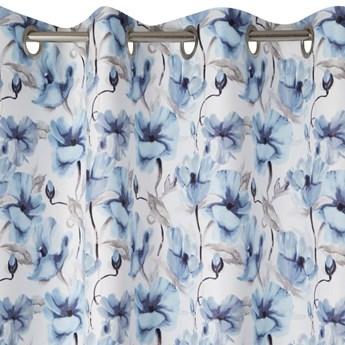 Zasłona Willow 135x250cm - Biały/Niebieski - Przelotki