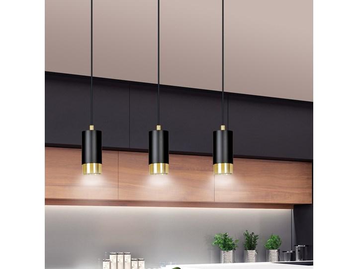 FUMIKO 3 BLACK-GOLD 817/3 designerski spot wiszący czarne tuby złote dodatki Metal Lampa LED Styl Nowoczesny