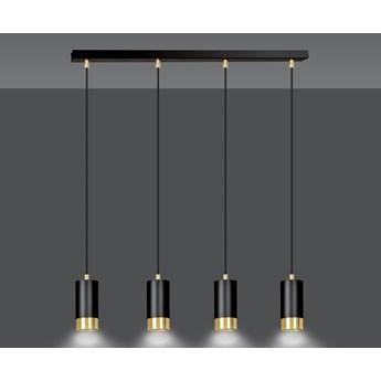FUMIKO 4 BLACK-GOLD 817/4 designerski spot wiszący czarne tuby złote dodatki