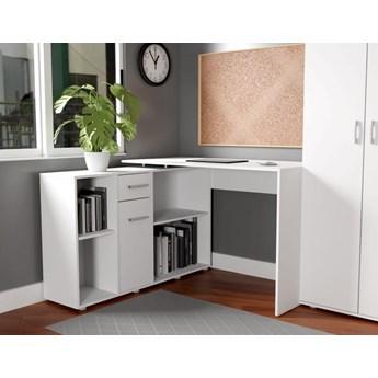 Białe biurko narożne z szafką i szufladą, komodą