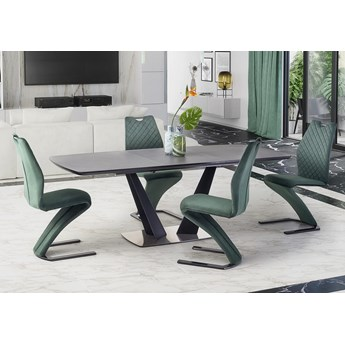 Duży nowoczesny stół rozkładany szary/czarny industrialny