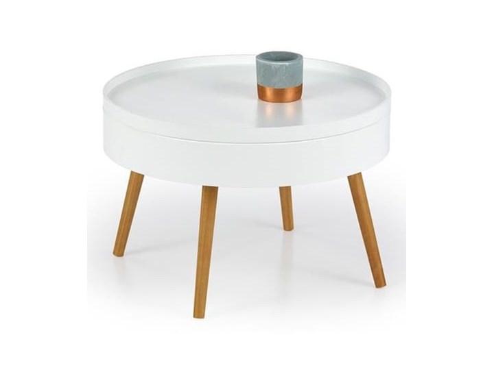 Biały okrągły stolik kawowy ze schowkiem 60 cm ława Zestaw stolików Płyta MDF Drewno Kształt blatu Okrągłe Wysokość 40 cm Styl Nowoczesny
