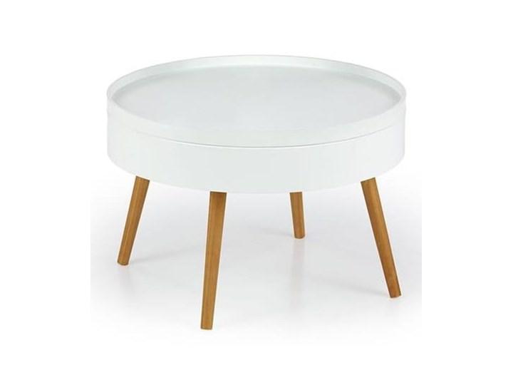 Biały okrągły stolik kawowy ze schowkiem 60 cm ława Wysokość 40 cm Rozmiar blatu 60x60 cm Zestaw stolików Drewno Płyta MDF Styl Skandynawski