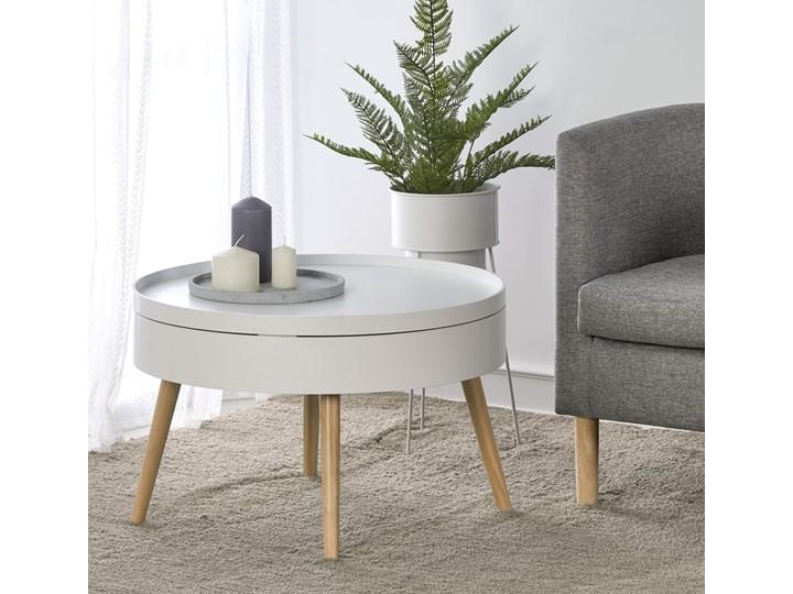 Biały okrągły stolik kawowy ze schowkiem 60 cm ława Wysokość 40 cm Zestaw stolików Drewno Płyta MDF Styl Skandynawski