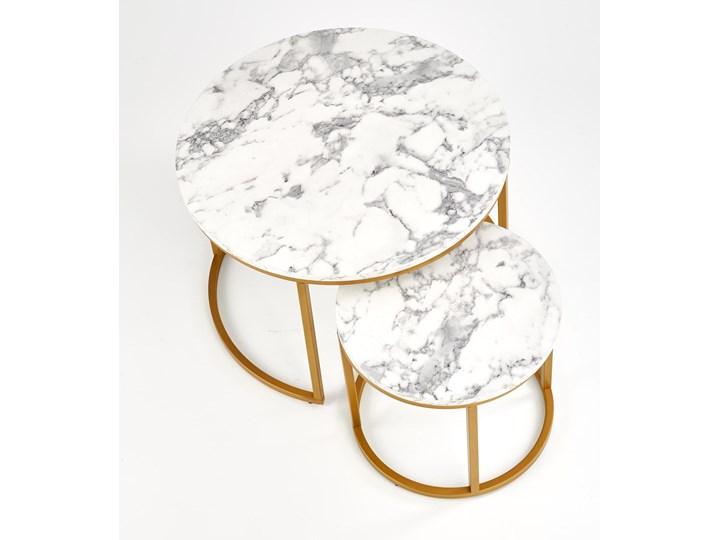 Okrągłe stoliki kawowe marmur + złoto glamour Stal Zestaw stolików Wysokość 38 cm Wysokość 40 cm Płyta MDF Styl Minimalistyczny