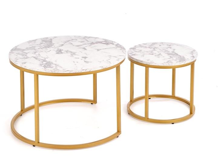 Okrągłe stoliki kawowe marmur + złoto glamour Wysokość 38 cm Płyta MDF Wysokość 40 cm Zestaw stolików Stal Styl Minimalistyczny