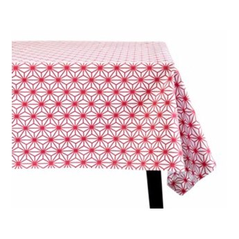 Obrus geometryczny DUKA RODVIT 250x150 cm biały czerwony bawełna