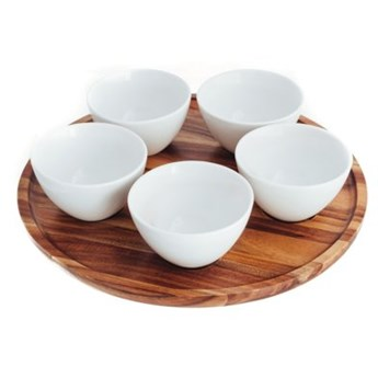 Zestaw miseczek z okrągłą podstawką DUKA FRIGG 5 sztuk biały porcelana