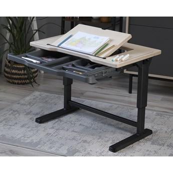 Regulowane biurko dziecięce z szufladą i pochylanym blatem Sit By Me Premium