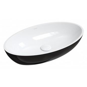 Umywalka Siena, 60x35 cm, nablatowa, biały/czarny połysk, SIENALUNBCP