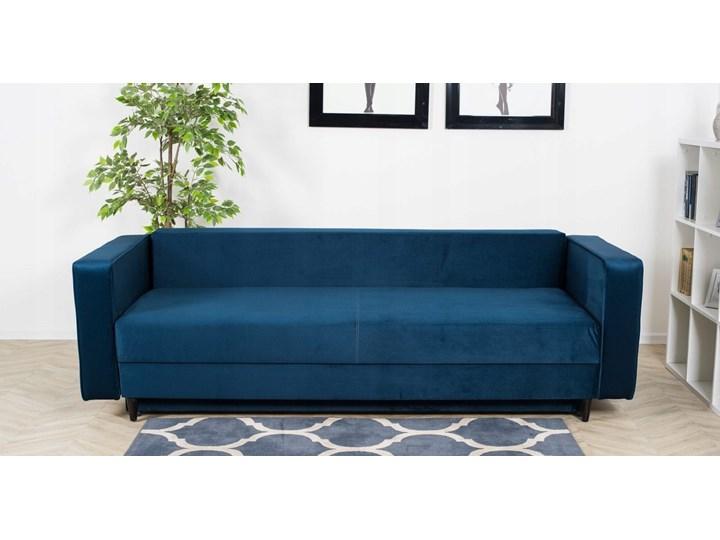 Sofa Rozkładana BRAVOS Funkcja Spania Pojemnik Granat Wielkość Trzyosobowa Materiał obicia Welur
