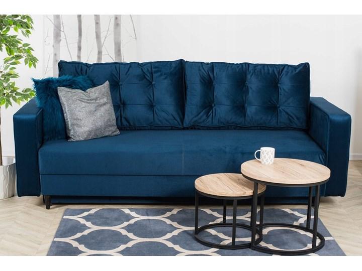 Sofa Rozkładana BRAVOS Funkcja Spania Pojemnik Granat Typ Pikowane