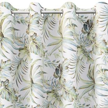 Zasłona Welwetowa Borneo 135x250cm - Biały/Zielony - Przelotki
