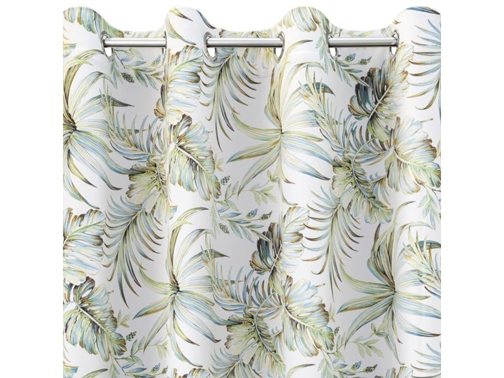 Zasłona Welwetowa Borneo 135x250cm - Biały/Zielony - Przelotki Poliester 135x250 cm Bawełna 140x250 cm Typ Zasłony gotowe