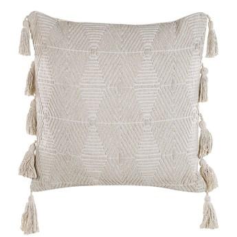 Poduszka dekoracyjna beżowa bawełniana 45 x 45 cm zdejmowana teksturowana poszewka z chwostami
