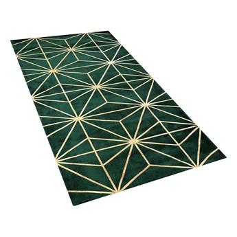 Dywan zielony ze złotym geometrycznym wzorem wiskoza z bawełną 80 x 150 cm chodnik do sypialni salonu styl nowoczesny glamour
