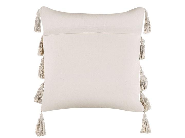 Poduszka dekoracyjna beżowa bawełniana 45 x 45 cm zdejmowana teksturowana poszewka z chwostami Bawełna Poszewka dekoracyjna 45x45 cm Wzór Jednolity