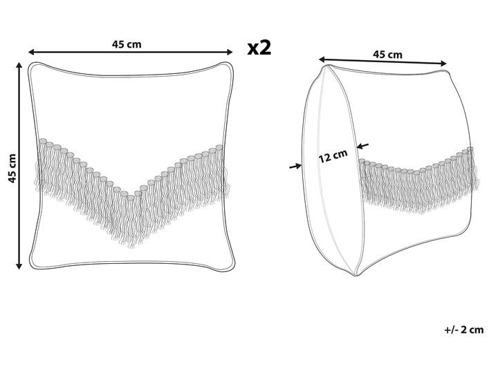 Zestaw 2 poduszek dekoracyjnych beżowy bawełniany 45 x 45 cm zdejmowana teksturowana poszewka z frędzlami 45x45 cm Poszewka dekoracyjna Kwadratowe Bawełna Kategoria Poduszki i poszewki dekoracyjne