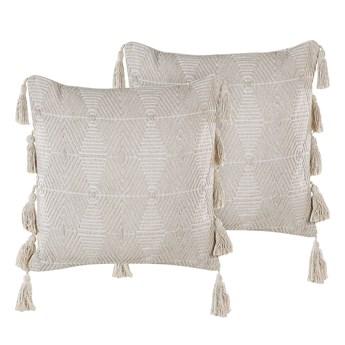Zestaw 2 poduszek dekoracyjnych beżowy bawełniany 45 x 45 cm zdejmowana teksturowana poszewka z chwostami