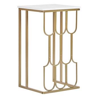 Stolik pomocniczy złoto-biały blat z efektem marmuru metalowa rama kwadratowy glam
