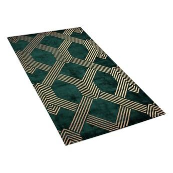 Dywan zielony ze złotym geometrycznym wzorem wiskoza z bawełną  80 x 150 cm styl nowoczesny glamour