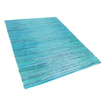 Dywan niebieski 160 x 230 cm bawełniany ręcznie tkany krótkowłosy salon sypialnia