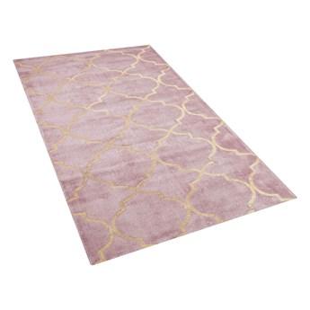 Dywan różowy ze złotym wzorem marokańska koniczyna wiskoza z bawełną  80 x 150 cm styl nowoczesny glamour