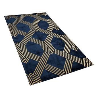 Dywan niebieski ze złotym geometrycznym wzorem wiskoza z bawełną  80 x 150 cm styl nowoczesny glamour