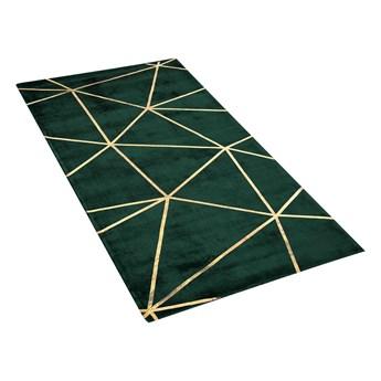 Dywan niebieski ze złotym geometrycznym wzorem wiskoza z bawełną 80 x 150 cm do sypialni salonu styl nowoczesny glamour