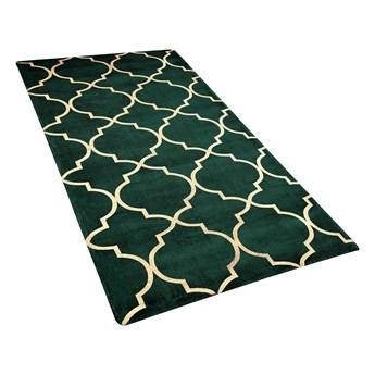 Dywan zielony ze złotym wzorem marokańska koniczyna wiskoza z bawełną  80 x 150 cm styl nowoczesny glamour