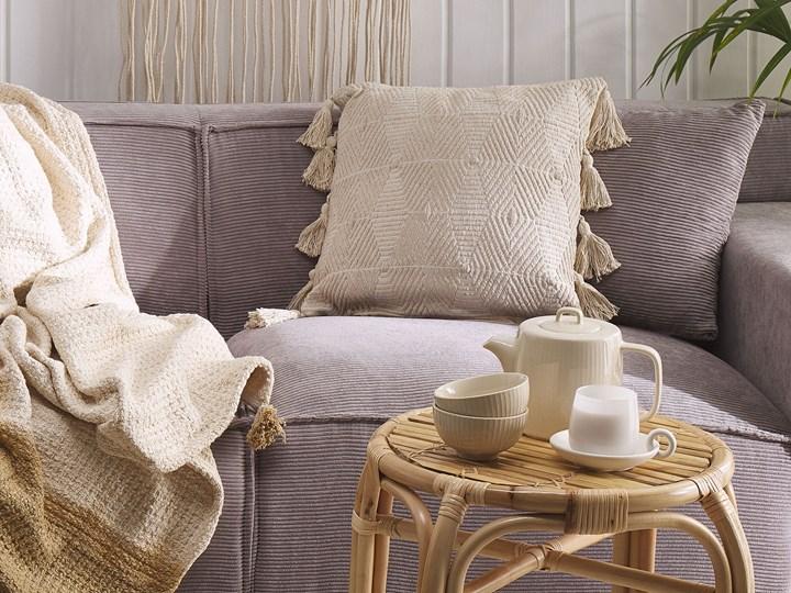 Poduszka dekoracyjna beżowa bawełniana 45 x 45 cm zdejmowana teksturowana poszewka z chwostami 45x45 cm Bawełna Poszewka dekoracyjna Pomieszczenie Sypialnia