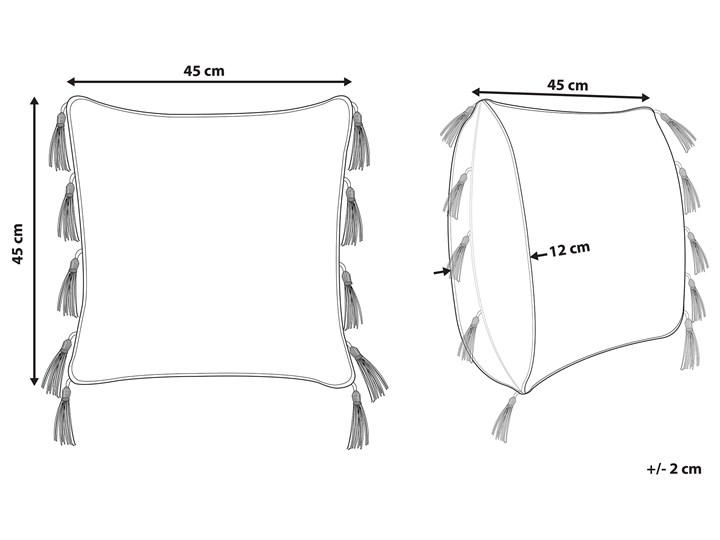 Poduszka dekoracyjna beżowa bawełniana 45 x 45 cm zdejmowana teksturowana poszewka z chwostami Bawełna 45x45 cm Poszewka dekoracyjna Kolor Beżowy