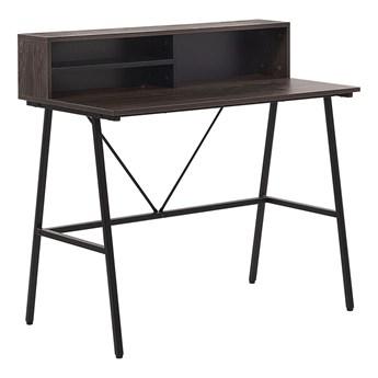 Biurko ciemne drewno płyta 100 x 50 cm czarna metalowa rama z półkami