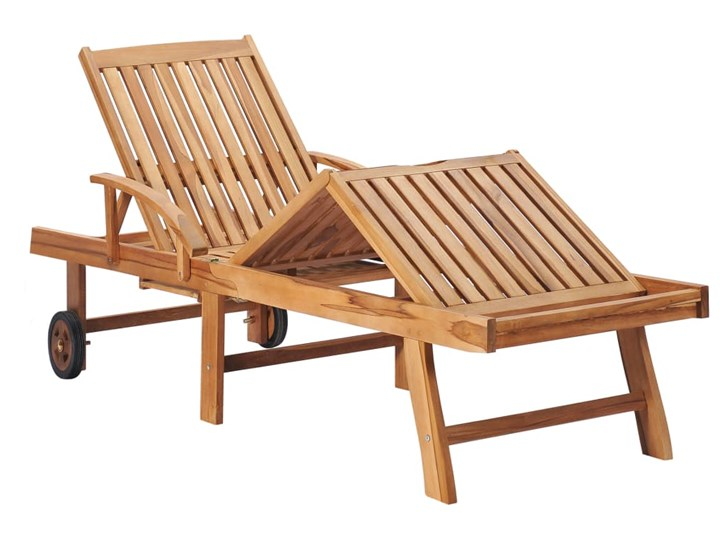 vidaXL Leżak z jasnozieloną poduszką, lite drewno tekowe Metal Kolor Zielony