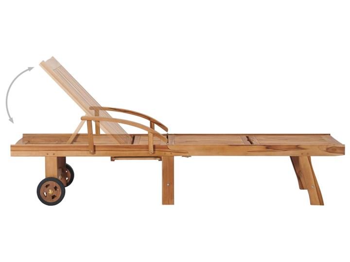 vidaXL Leżak z jasnozieloną poduszką, lite drewno tekowe Kolor Zielony Metal Styl Rustykalny
