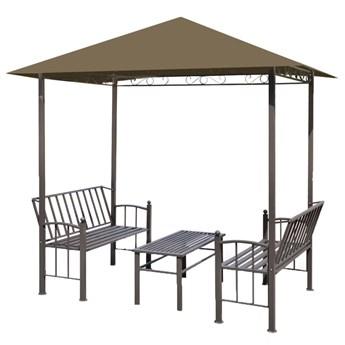 vidaXL Zadaszenie ogrodowe ze stołem i ławkami, 2,5x1,5x2,4 m, taupe