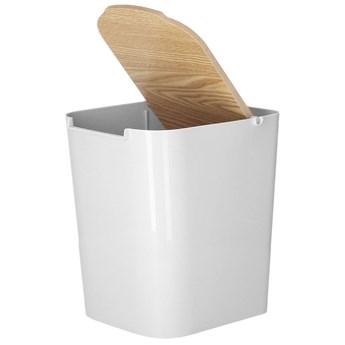Kosz na śmieci 5L z drewnianą pokrywką szary