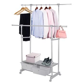Wieszak na ubrania 93-129cm stojak na kółkach szary