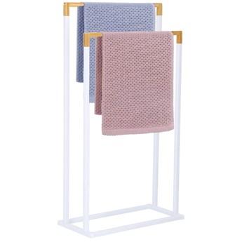 Stojak łazienkowy na ręczniki 2-ramienny biały