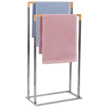 Stojak łazienkowy na ręczniki 2-ramienny srebrny, bambus