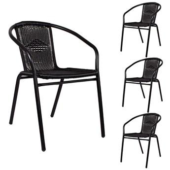 Krzesła ogrodowe 4 szt. metalowe na balkon czarne zestaw